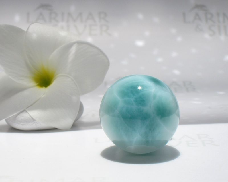 "SOLD OUT - Reiki Larimar sphere - Sea Turtle World - diameter 28mm or 1 1/8"" - product images  of"