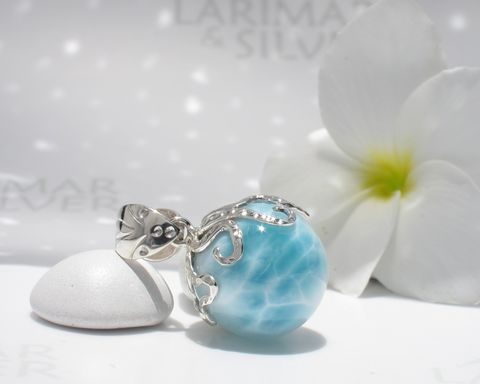 SOLD,OUT,-,Crystal,Larimar,octopus,pendant,Guardian,of,the,Source,Larimar pendant, Larimar pearl pendant, larimar ball, larimar sphere, octopus pendant, octopus Larimar pendant, silver octopus choker, octopus necklace, octopus world, dolphin stone pendant, blue pectolite pendant, Larimar jewelry, turtleback larimar