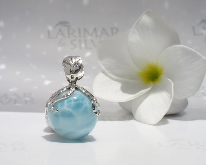 Aaa Larimar Octopus Pendant Guardian Of Purity