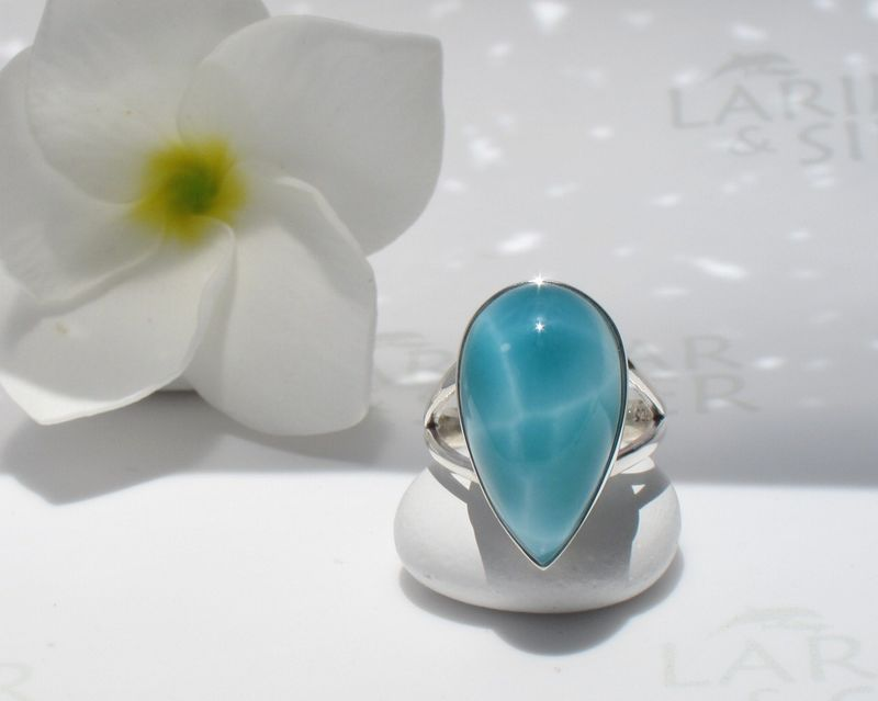 AAA Larimar ring size 7.75 - Sea Turtle Queen - product images  of