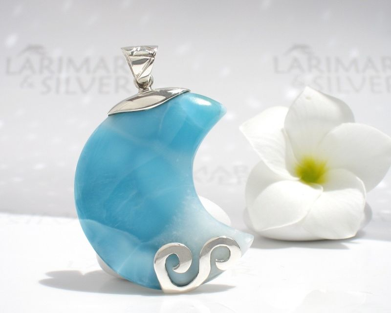 Big Larimar moon pendant - The Great Moon Goddess above the Sea - product images  of