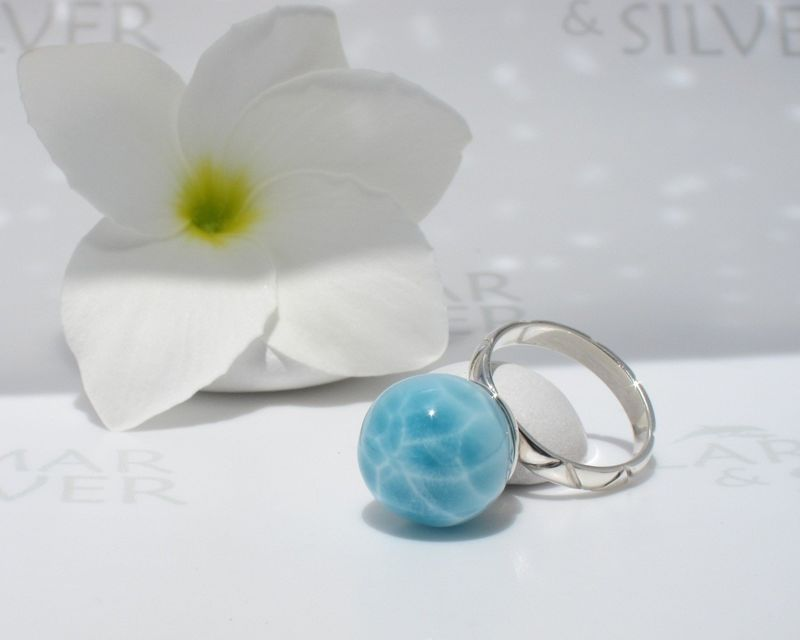 Pool pattern Larimar ring size 6.75 - Pearl of Water - product images  of