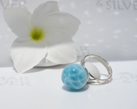 SOLD,OUT,-,Pool,pattern,Larimar,ring,size,6.75,Pearl,of,Water,Larimar ring, blue pearl ring, Larimar ball, Larimar pearl ring, blue water pearl, blue marble ring, topaz blue pearl ring, aqua blue pearl, turtleback, sky blue pearl, mermaid pearl, swimming pool pattern, AAA Larimar ring, Larimarandsilver ring