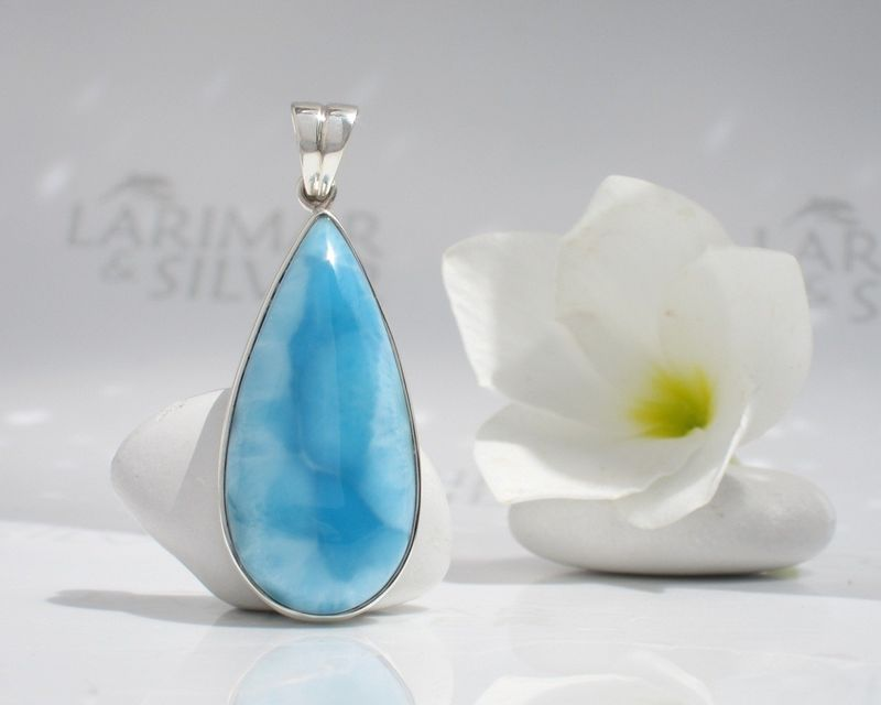 AAA Larimar pear pendant by Larimarandsilver - Magical Waters of Atlantis - product images  of