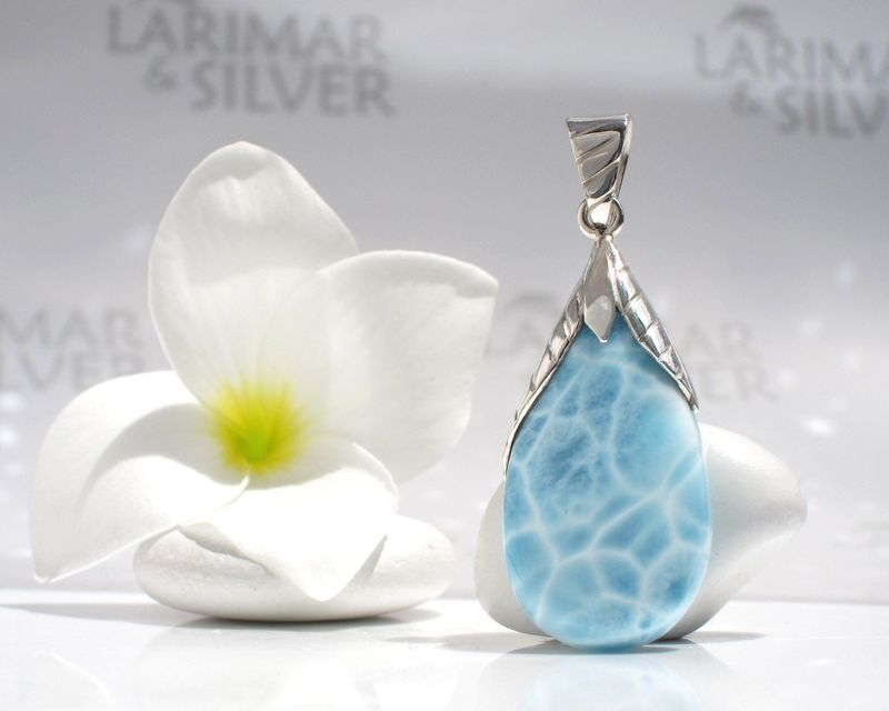 Pool pattern Larimar pear pendant - Water Berry - Authentic Larimar jewelry - product images  of