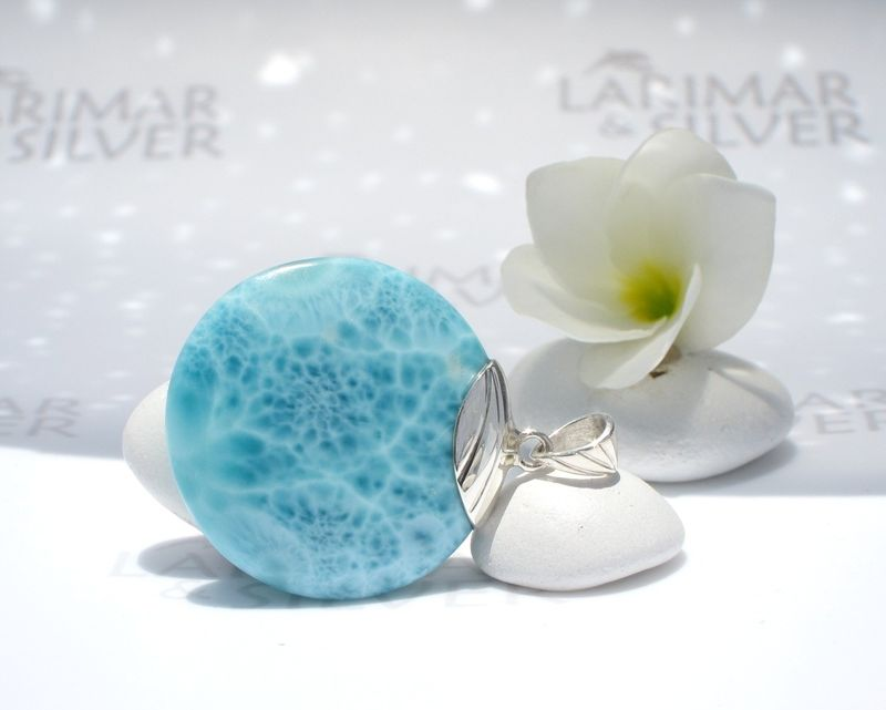 SOLD OUT - AAA Larimar round pendant - Source of the Godesses - Authentic Larimar jewelry - product images  of