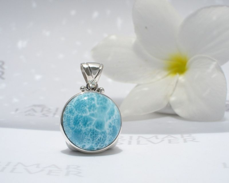 AAA Larimar pendant - Ocean Moon - Authentic Dominican Larimar jewelry .925 silver - product images  of