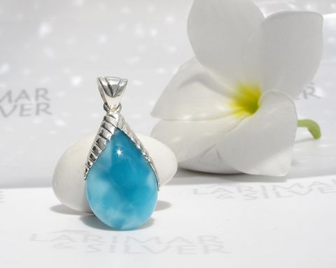 AAA,Larimar,drop,pendant,–,From,My,Mermaids,Orchard,1,-,Authentic,Dominican,jewelry,Larimarandsilver, Larimar pendant, Larimar jewelry, Larimar pear pendant, blue drop pendant, volcanic blue, silver palm leaf, mermaid pendant, AAA Larimar pendant, reversible Larimar pendant, turtleback, Larimar stone pendant