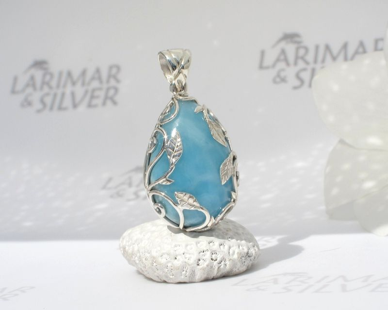 Larimar pendant 925 silver - Glade of the Fairies - Authentic Dominican Larimar jewelry  - product images  of