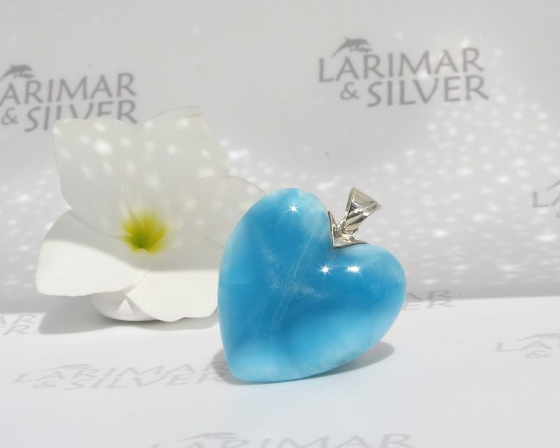 AAA Larimar heart pendant 925 silver - Love in Blue Satin - Authentic Dominican Larimar jewelry - product images  of