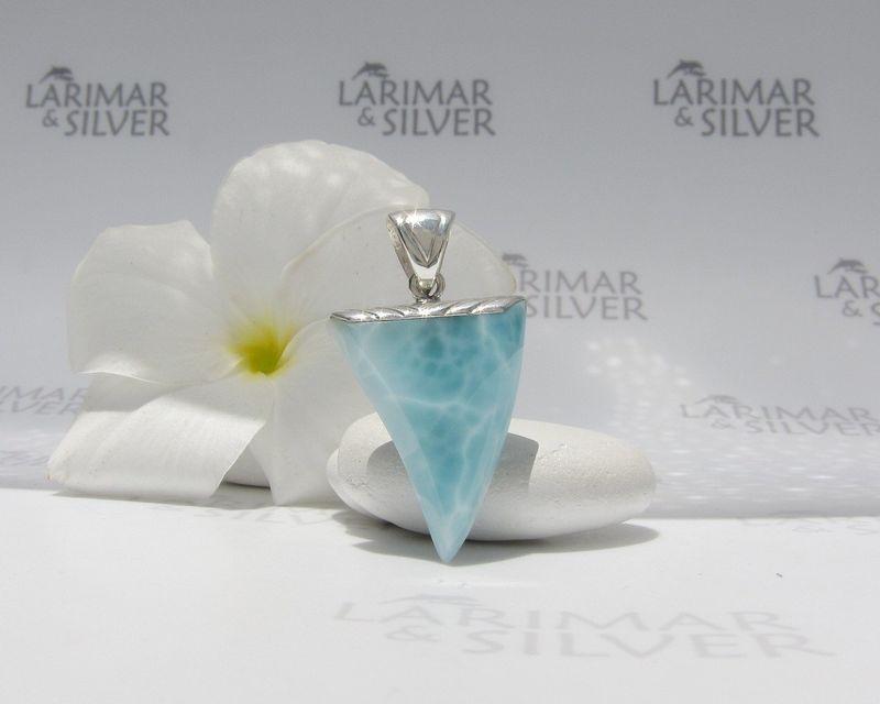 Reversible Larimar claw pendant by Larimarandsilver turquoise fang choker 925 silverwavyvolcanic bluegift for him Baby Jabberwocky 3