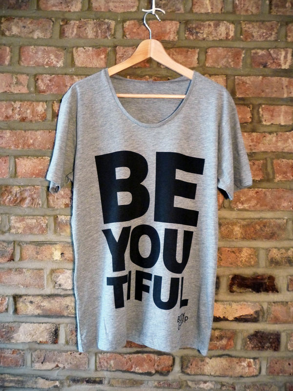 Men's grey tshirt + black 'beYOUtiful' slogan - product images  of