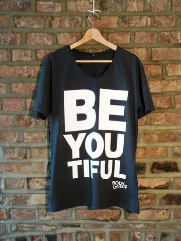 Men's,charcoal,tshirt,+,white,'beYOUtiful',slogan,t-shirt, men's, grey, slogan, body gossip, tunic, 100% Tencel Lyocell