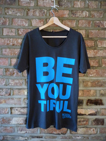 Men's,charcoal,tshirt,+,blue,'beYOUtiful',slogan,t-shirt, men's, grey, slogan, body gossip, tunic, 100% Tencel Lyocell