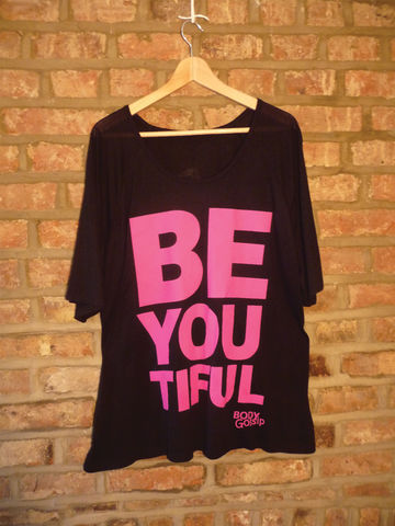 black,raglan,sleeve,+,pink,'beYOUtiful',slogan,(1,size,fits,UK,16-22),t-shirt, tshirt, black, slogan, body gossip, women's 3/4 length sleeve raglan, 100% Tencel Lyocell