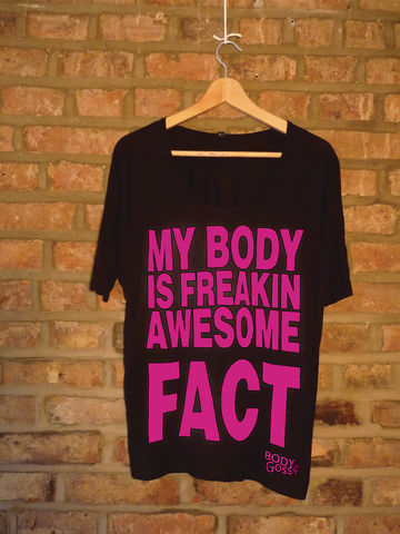 black raglan sleeve + pink 'awesome' slogan  - product images  of