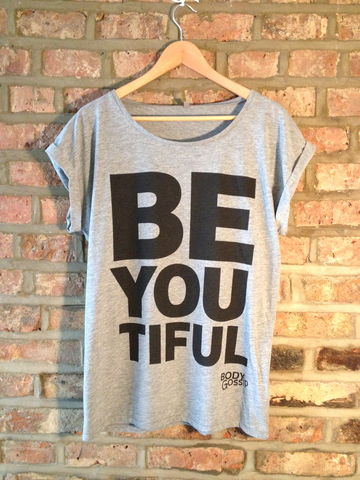 grey,rolled,sleeve,tunic,+,black,'beYOUtiful',slogan,t-shirt, grey, slogan, body gossip, tunic, 100% Tencel Lyocell