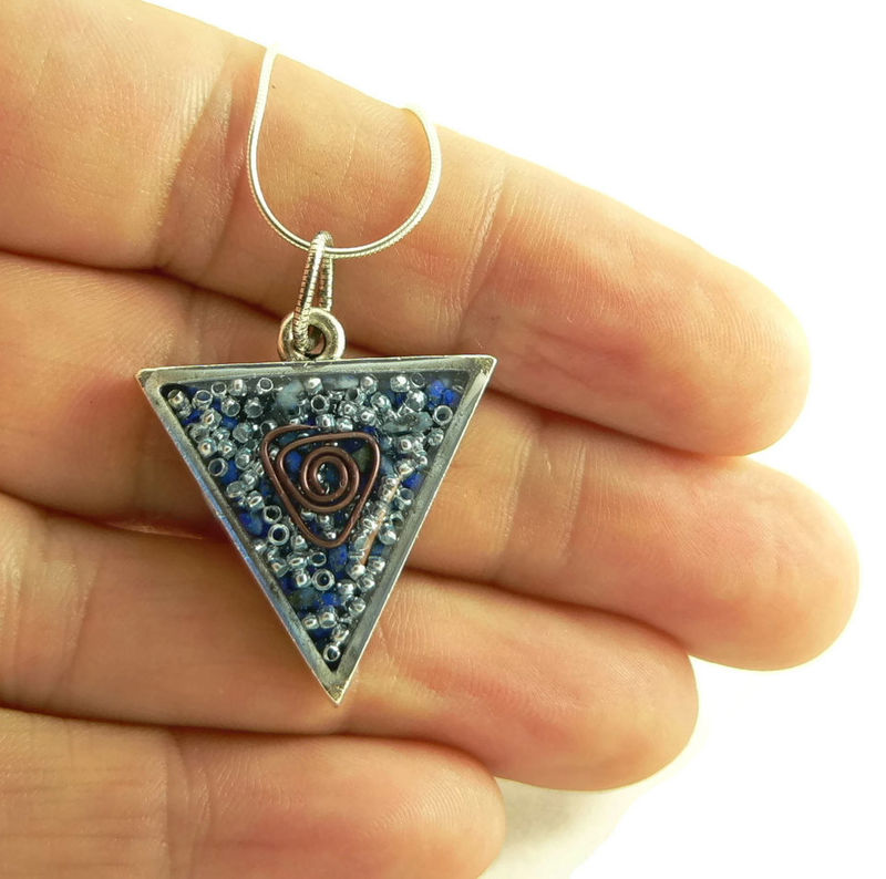 Orgone Energy Triangle Pendant in Antique Silver with Lapis Lazuli Gemstone