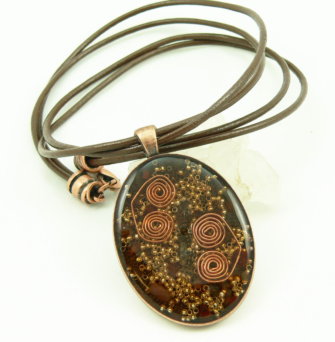 Orgone Energy Pendant Large Copper Oval W Carnelian