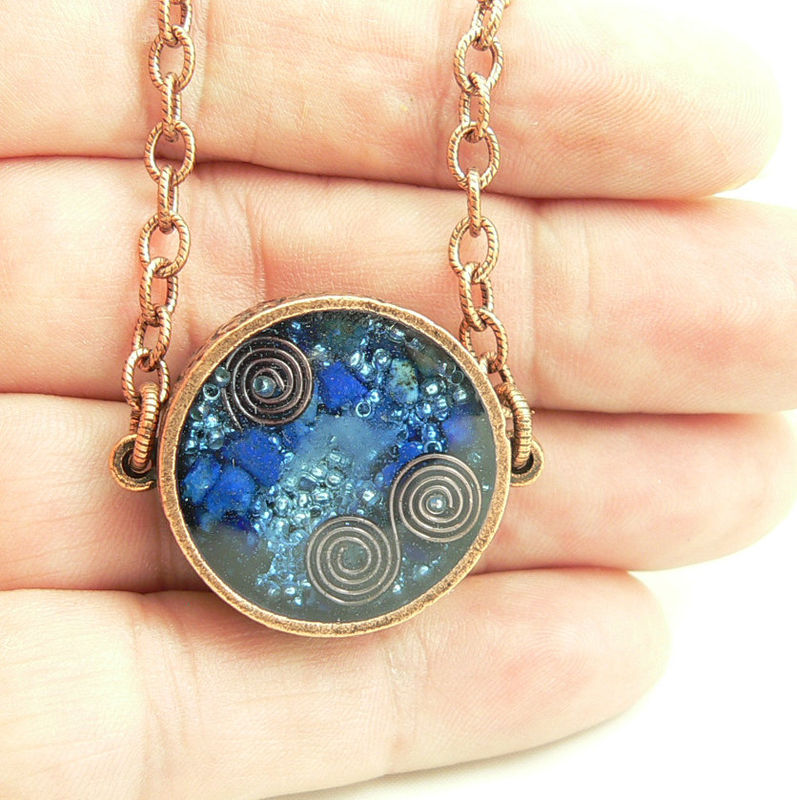 Orgone Energy Pendant Double Sided Antique Copper With