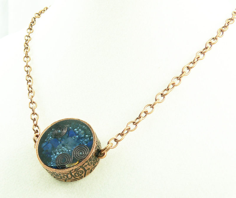 Orgone Energy Pendant Double Sided Antique Copper with Lapis Lazuli Gemston