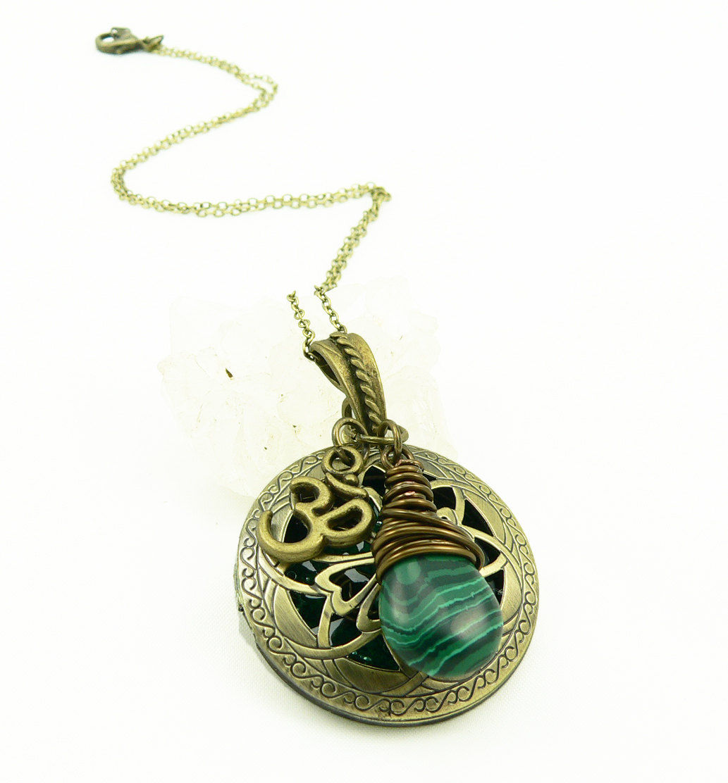 orgone energy locket antique bronze celtic filigree
