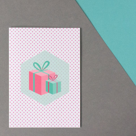 Modern,Illustrated,Christmas,Card,-,'Presents',modern christmas cards, illustrated christmas card