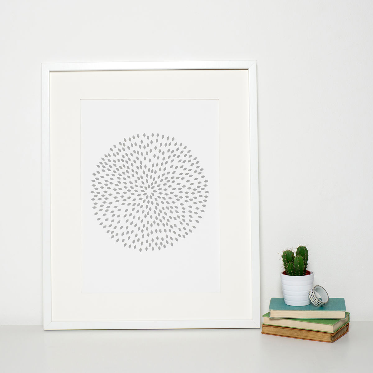 Minimalist Modern Grey Patterned Circle Print - product images  of