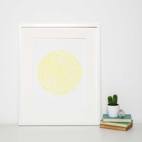 Minimalist,Yellow,Circle,Print,art print sale, art sale, grey art print, modern yellow art print, pattern print