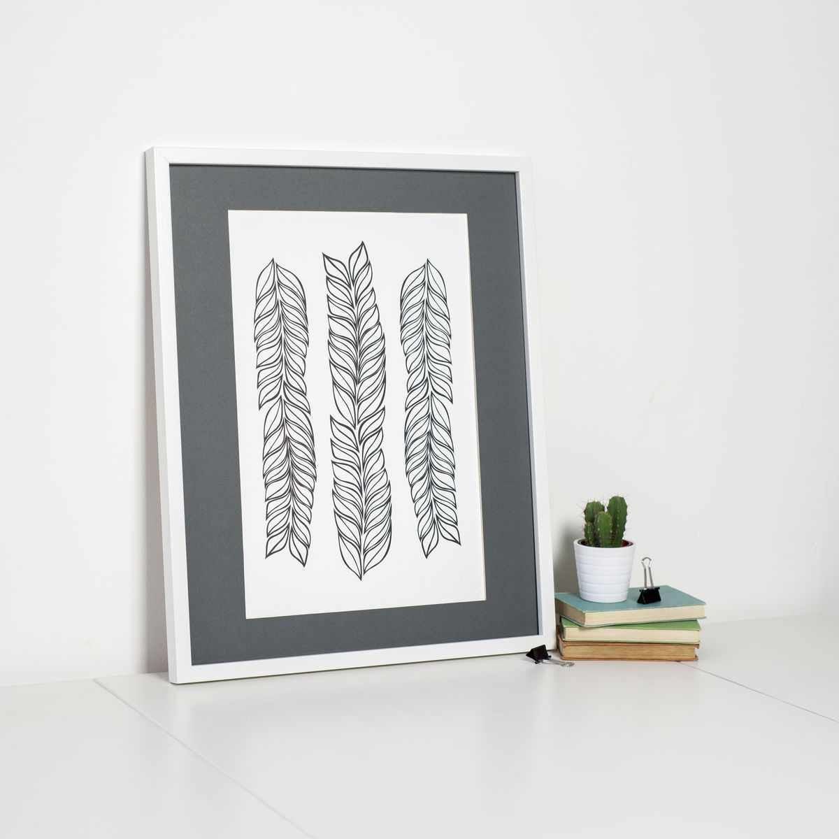 Modern Monochrome Leaf Pattern Print - product images  of