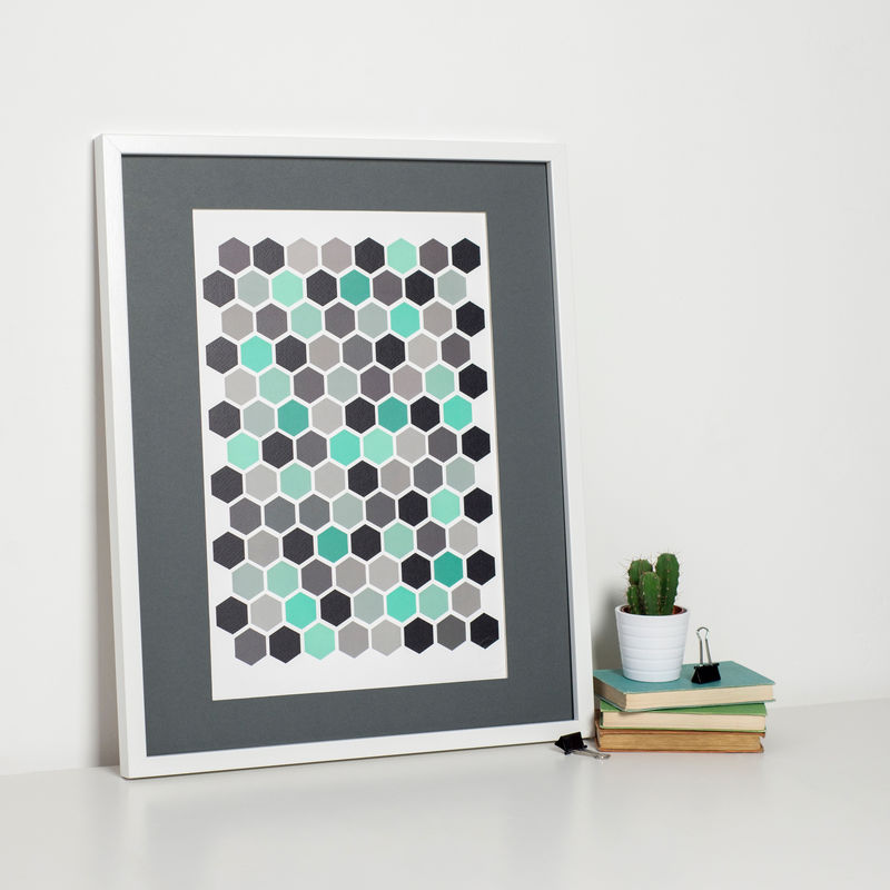 Modern Turquoise Hexagon Print - product images  of