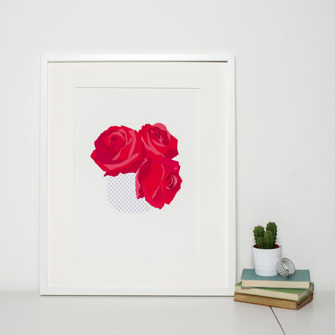 Modern,Floral,Art,Print,'Red,Roses',rose illustration, rose art print, flower art print, modern illustration