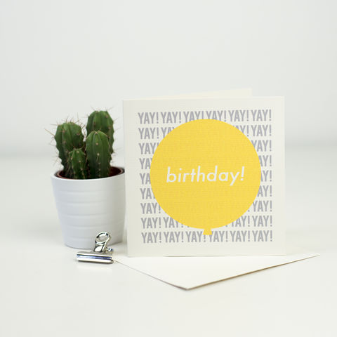 Modern,Birthday,Card,-,Yellow,+,Grey,modern birthday card