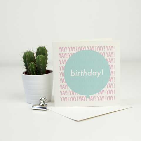 Modern,Birthday,Balloon,Card,-,Pink,&,Aqua,modern birthday card