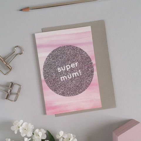 Super,Mum,Mother's,Day,Card,modern mother's day card, design-led stationery, mother's day card, super mum card, cool super mum card