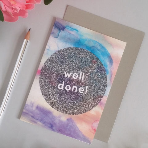 Well,Done,Card,exam card, promotion card, modern greetings card, notepaper, feminine stationery, girly stationery