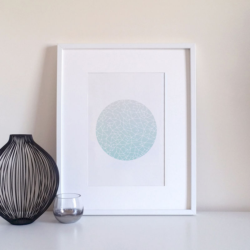 Aqua Constellation Pattern Modern Art Print - product images