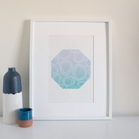 Turquoise,and,Lilac,Pattern,Modern,Print,octagon print, modern art print, pattern print, geometric print, turquoise print, circle shape