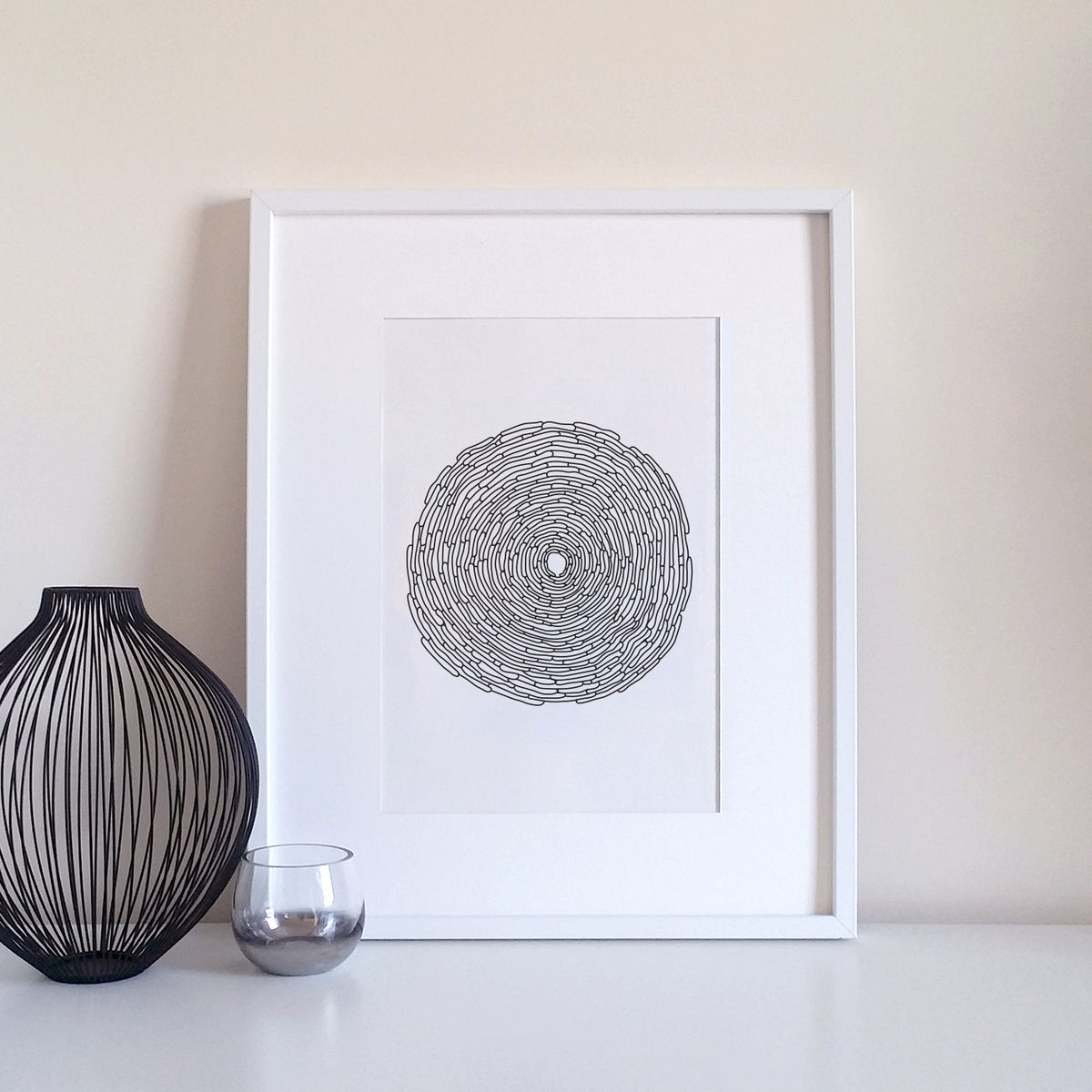 Monochrome Illustrated Modern Art Print - product image