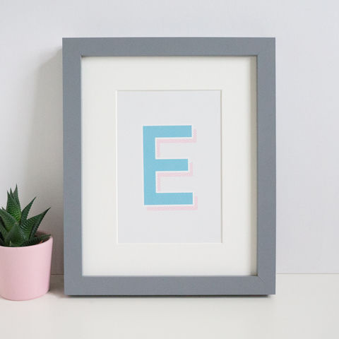 Turquoise,+,Pink,Modern,Letter,Print,letter print, alphabet print, initials print