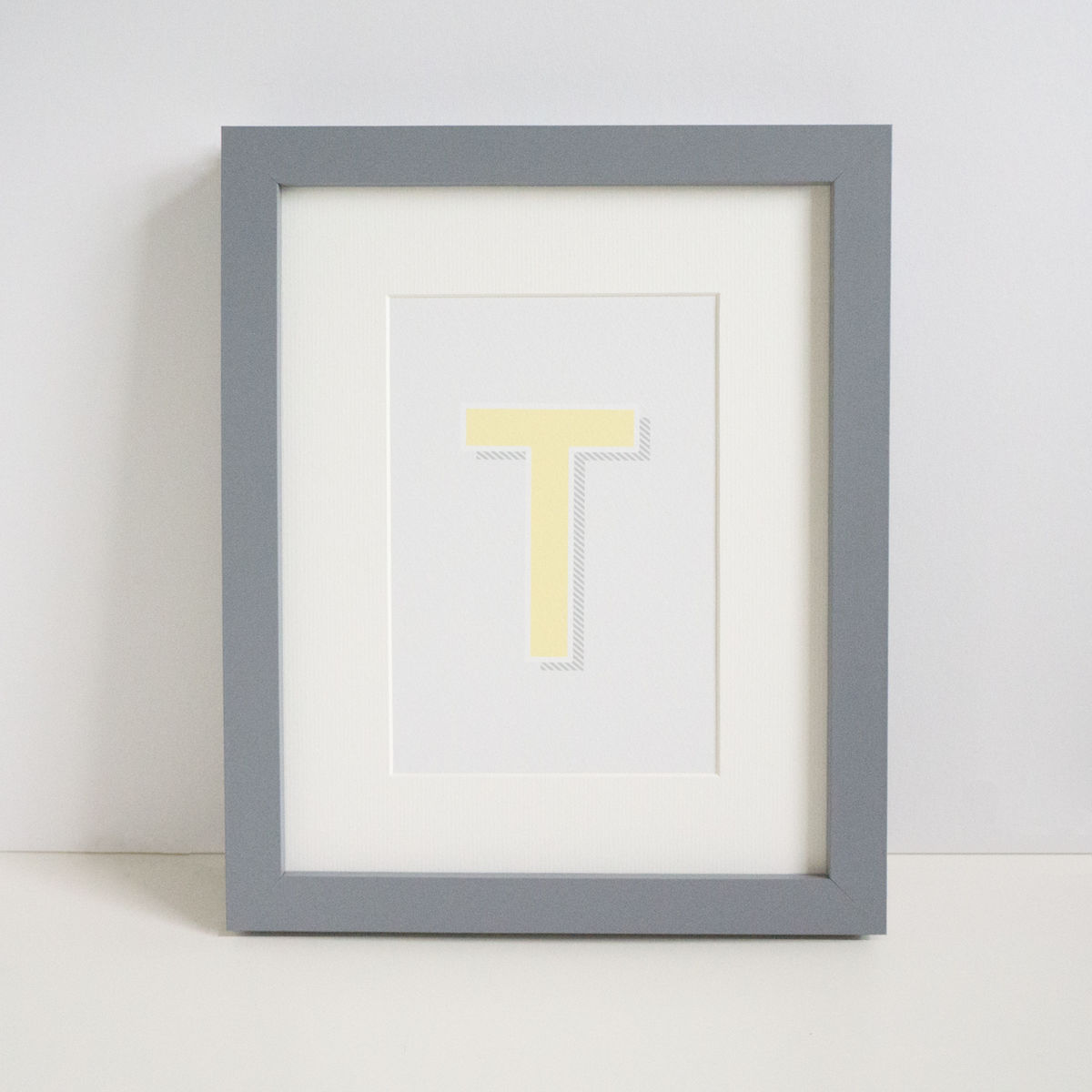Yellow + Grey Modern Letter Print - product images  of