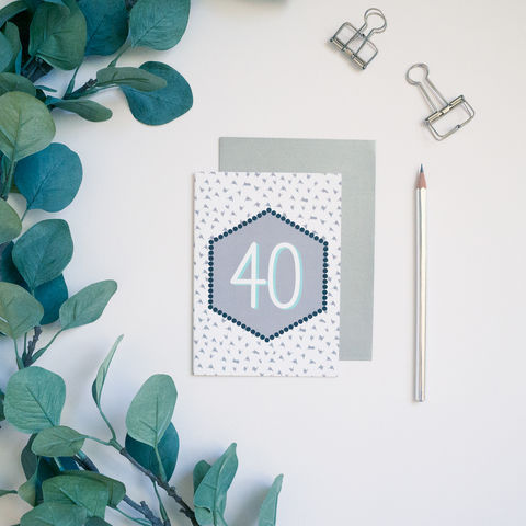Modern,40th,Birthday,Card,40th birthday card, modern 40th birthday card, monochrome greetings card