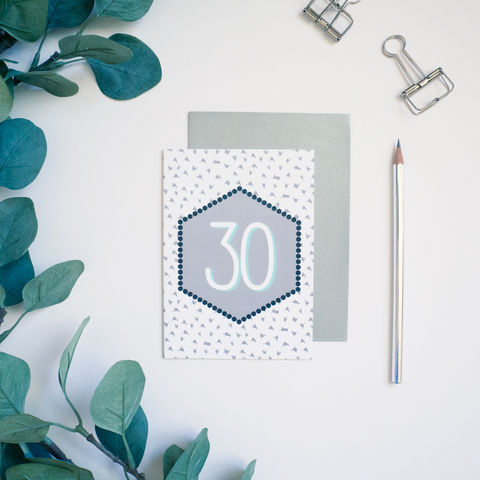 Modern,30th,Birthday,Card,30th birthday card, modern 30th birthday card, monochrome greetings card