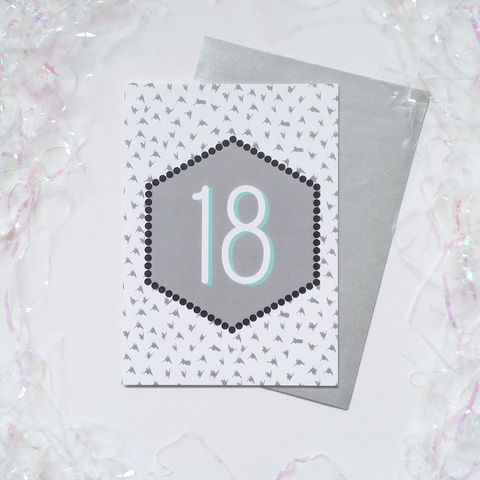 Modern,18th,Birthday,Card,18th birthday card, modern 18th birthday card, monochrome greetings card