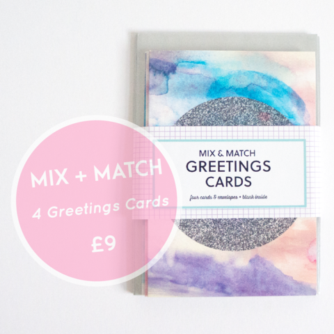 Mix,+,Match,Any,4,Greetings,Cards,pack of greetings cards, modern greetings cards