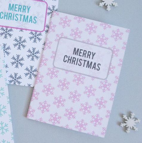 Modern,Pink,Snowflake,Christmas,Card,christmas card, modern christmas card, non religious christmas card, festive holiday card, contemporary christmas card, christmas cards
