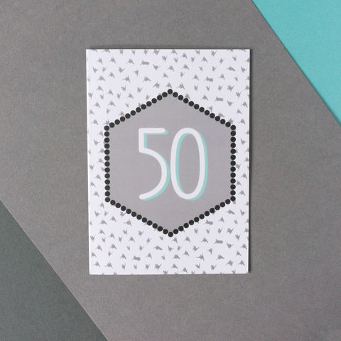 Modern,50th,Birthday,Card,50th birthday card, modern 50th birthday card, monochrome greetings card, modern greetings cards
