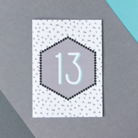Modern,13th,Birthday,Card,13th birthday card, modern 13th birthday card, monochrome greetings card, modern greetings cards