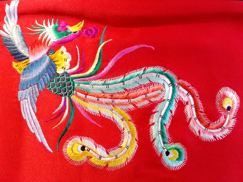 phenix,hand,embroidery,scarf,embroidery silk scarf