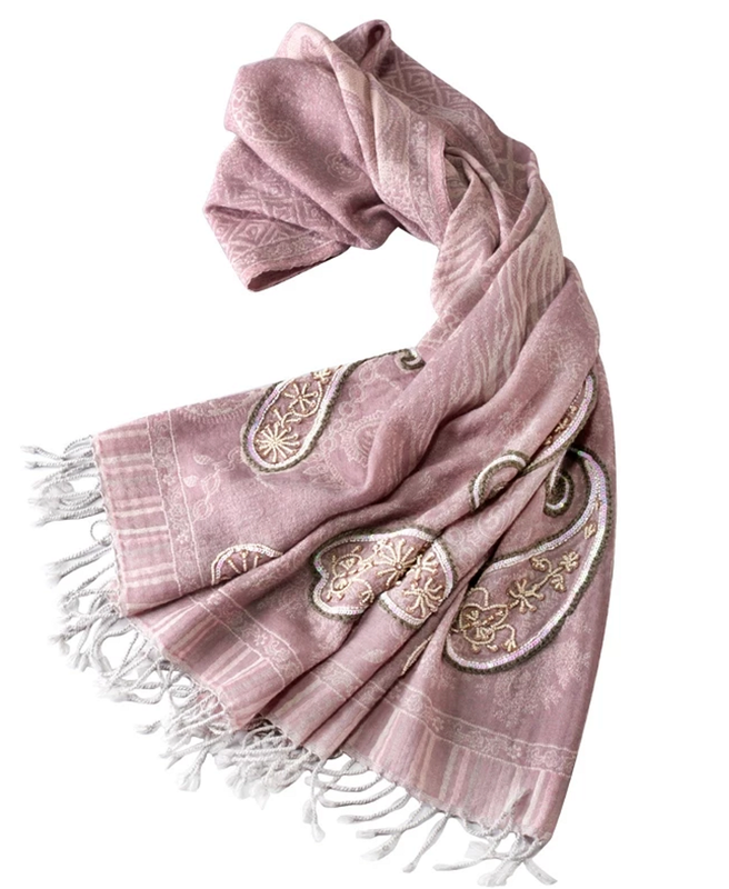 Thistle purple beading wool scarf - product images  of